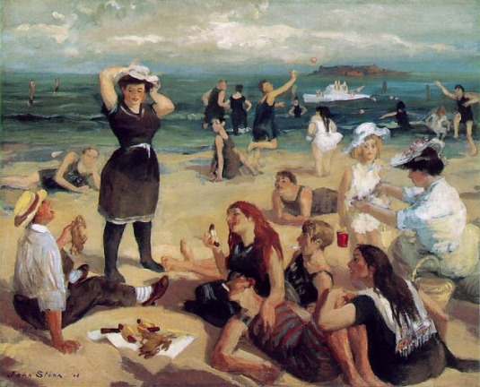 The-Art-Curator-for-Kids-How-Artists-Depict-Space-Masterpiece-Monday-John-Sloan-South-Beach-Bathers-1907-1908